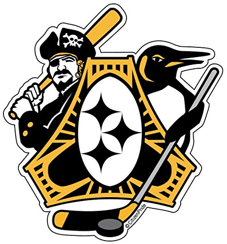 Citizen Pride Pittsburgh-Three Rivers Roar Sports Fan Crest, sticker decal die cut vinyl, 4.1x4.5, Made in USA (Die Pittsburgh Window Cut Pirates)