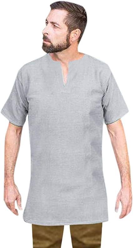 Camisas de cuello en V para hombre, de lino y algodón, de manga ...
