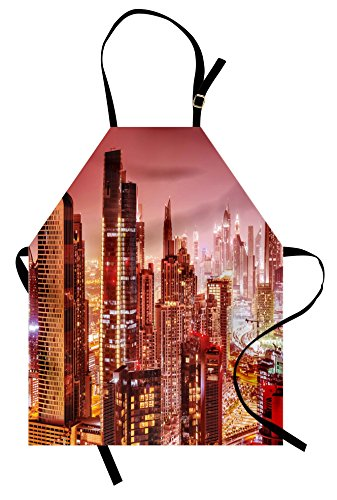 Ambesonne Cityscape Apron, Dubai at Night Cityscape with Tall Skyscrapers Panorama Picture Arabian Peninsula, Unisex Kitchen Bib Apron with Adjustable Neck for Cooking Baking Gardening, Multicolor ()