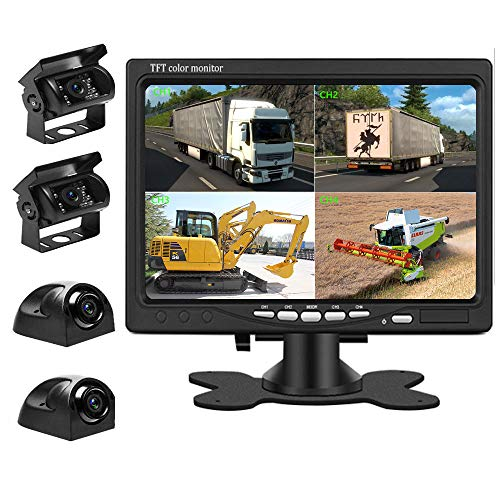 Liehuzhekeji Car Backup Camera and Monitor Kit, 7 Inch HD Quad Split Monitor 4 Pieces Waterproof IR Night Vision Front&Rear&Side View Cameras for Car RV Truck Pickup Van Camper Reversing Use