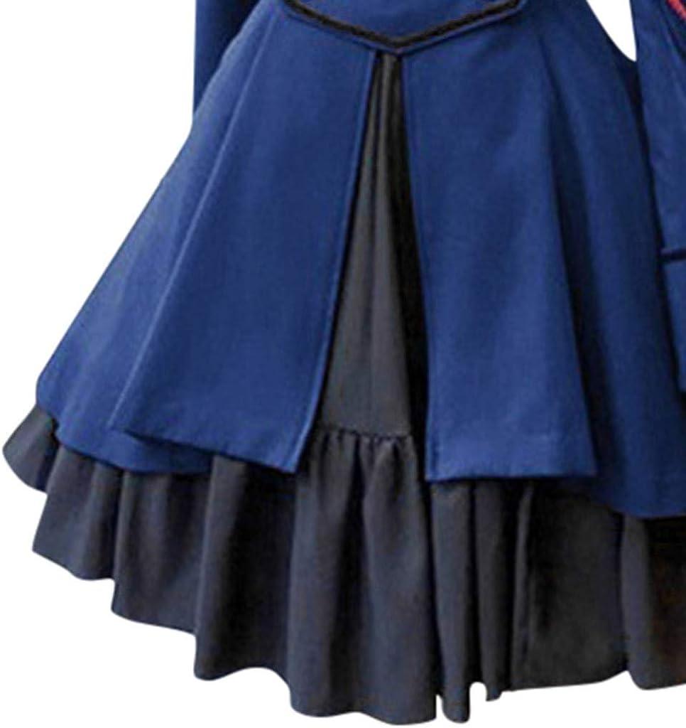 Voicry Mode Frauen Vintage Gothic Court Square Kragen Patchwork Prinzessin Kleid