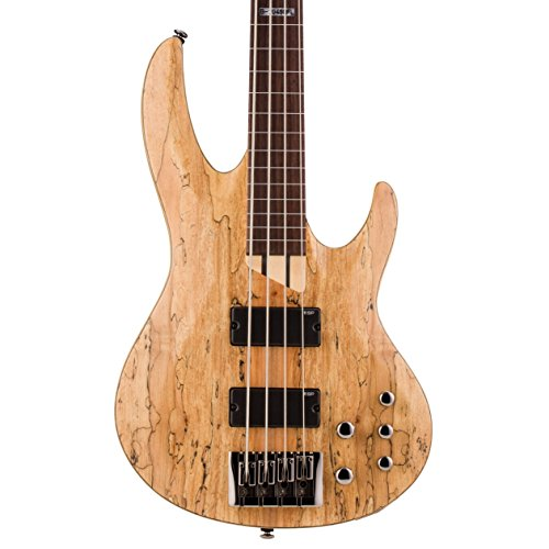 ESP LTD B-204SM FL Spalted Maple Fretless Bass Guitar, Natural Satin