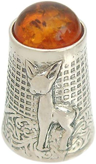 Hobra-oro argento 925 massiccio con ambra ditale ditale Silver Amber argento ditale con motivo floreale