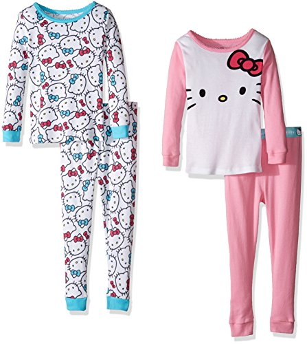 Hello Kitty Pj (Hello Kitty Little Girls' Toddler 4 Piece Cotton Set, Multi,)