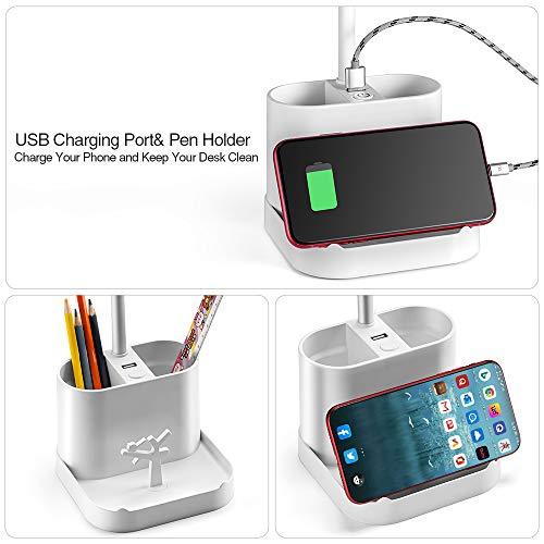 Schreibtischlampe LED Dimmbare Tischleuchte 3 Farb und benutzerdefiniert Helligkeitsstufen Augenfreundliche Tischlampe USB-Anschluss für Aufladung des Smartphones Leselicht ideal für Leser, Kinder