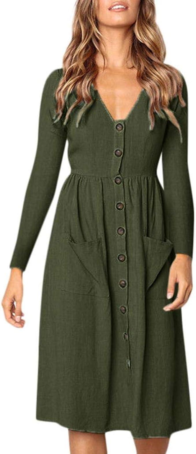 Longra Damen V-Ausschnitt Kleid Freizeit Langarm-Kleid Herbst Winterkleid  Boho Langes Kleid Vintage Knopf Kleid Damen High Waist Elegante Festliche