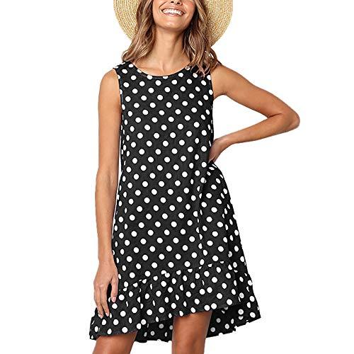Exlura Women's Casual Sleeveless Polka Dot Dress Ruffle Flounce Round Neck Loose Swing A-Line Pocket Mini Dress Black (Best Sunglasses For Plus Size)