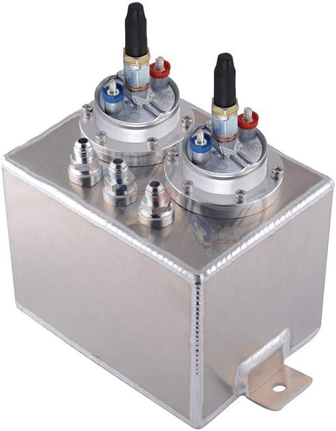 Universal 3L Dual Billet Aluminum Fuel Surge Tank With 2PCS Fuel Pump Black