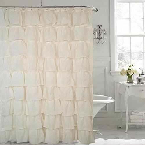 Shower Curtain Gypsy (spring Home FLAMENCO Gypsy Ruffled SHEER Shower Curtain (IVORY))