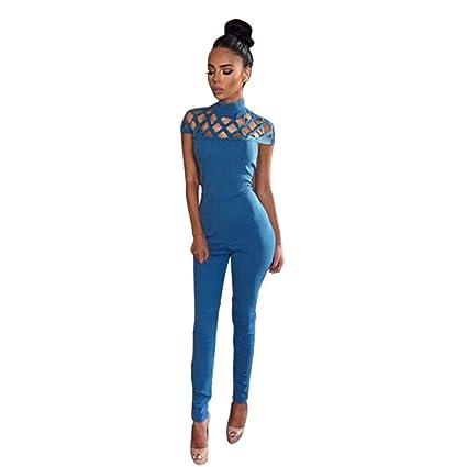 9c9c720c4be8 Monos Mujer Sexy ❤️ Amlaiworld Mono largo de manga larga para mujer  mameluco Casual Clubwear Señoras Romper Mamelucos largos (M, Azul)