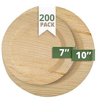 catereco Deluxe redondo juego de platos de hoja de palmera (200 ...