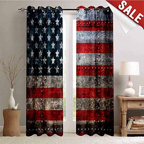 Hengshu American Flag Room Darkening Wide Curtains Royalty Flag Textured US Backdrop on Damaged Board Plate Design Artwork Print Decor Curtains by W84 x L84 Inch Red Grey