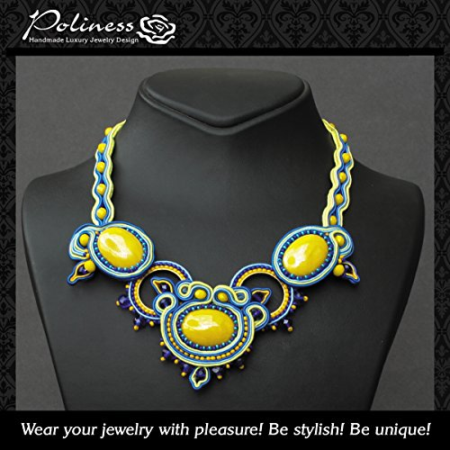1 of a kind Necklace Strands Handmade jewelry is embroidery Rhinestones ,Glass beads, Soutache and Czech glass.