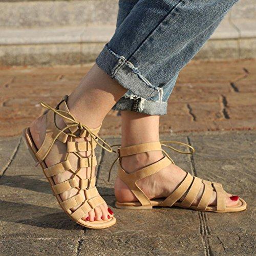 Sandalias Moda ASHOP Zapatos Mujer Peep Elegante Cómodo Gladiador y Cordones Cuero De de Beige de Sandalias Bohemia Zapatillas Chanclas Toe Planas Las Y Verano Playa Bailarinas TnO5fTYqr