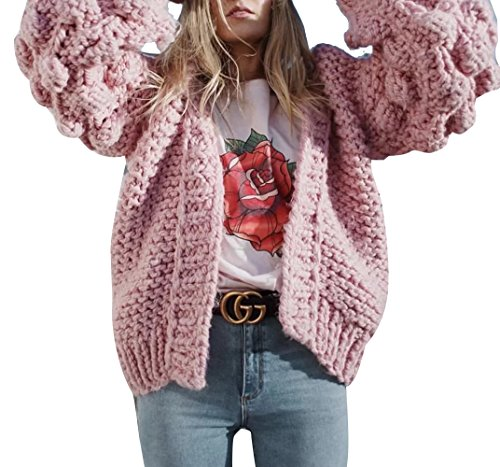 Gamery Women's Winter Bubble Long Sleeve Open Front Chunky Cardigan Sweaters One Size Pink