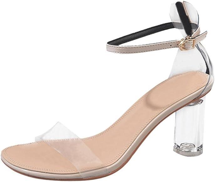 3206f131ec DENER Women Ladies Girls Summer High Heels Sandals,Transparent Wedge  Gladiator Wide Width Comfort Open