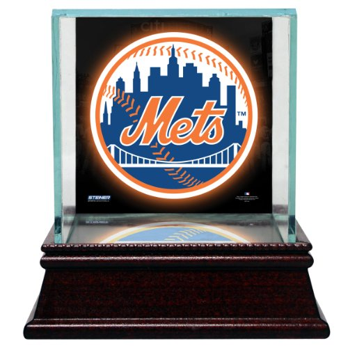 [MLB New York Mets Glass Single Baseball Case with Team Logo Background] (Mets Display Cases)