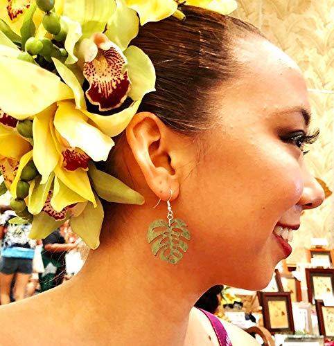 (TALI Small Laser Cut Wood Earrings Green Monstera Leaf Earrings, Hawaiian Island Polynesian Tropical, Gift for Her)