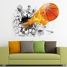 3D Basketball Wall Sticker Decal Living Room Bedroom Decor for Men Teenager Boy Kid Children Baby Room Nursery Wall Art Murals Wallpaper Poster
