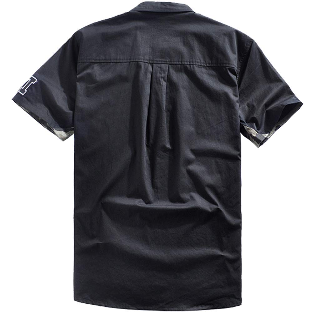 PENNY/&PEI Shirts for Men Letter Embroidery Camouflage Soft Breathable Casual Black xl-6xl
