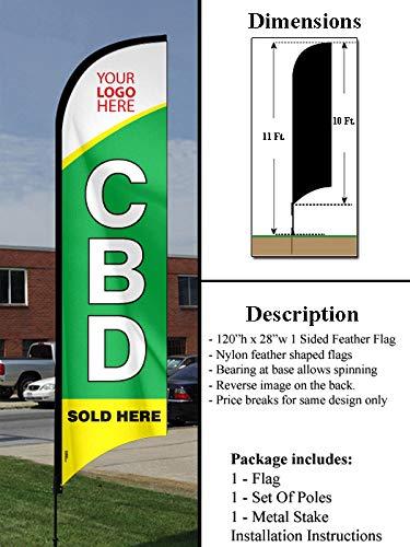 Island Visuals, inc. CBD/Cannabidiol Sold Here - 10' Feather Flag Set (CBD Sold Here with Custom Logo)