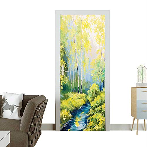 Decorative Door Decal Pastoral Paint in Spring Time Colored Leav and TRE Stick The Picture on The doorW23 x H70 INCH]()