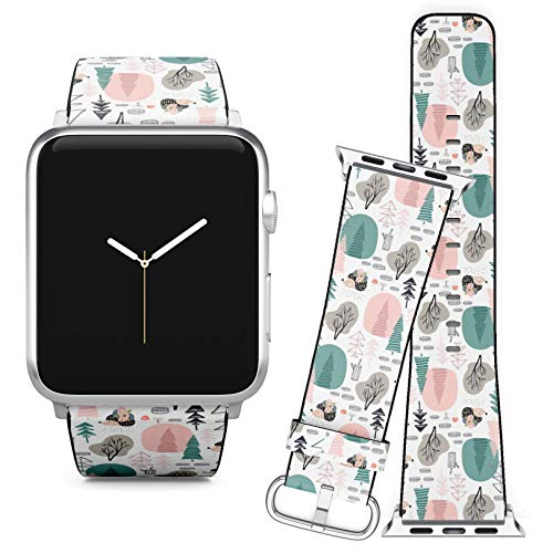 Compatible with Apple Watch (38/40 mm) // Leather Replacement Bracelet Strap Wristband + Adapters // Hedgehog Forest Elements