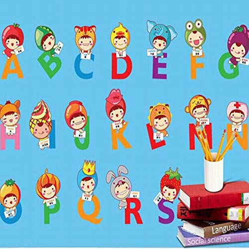 ViewHuge Animal Alphabet ABC Kids Wall Decals Wall Stickers Peel and Stick Removable Wall Stickers for Kids Nursery Bedroom Living Room