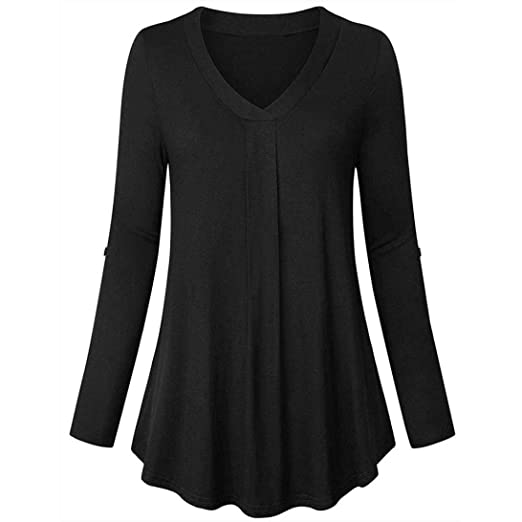 d1d388aedaf6a Liraly Womens Tops Clearance! Womens Blouses On Sale Womens Long Sleeve  Solid Color Casual Loose