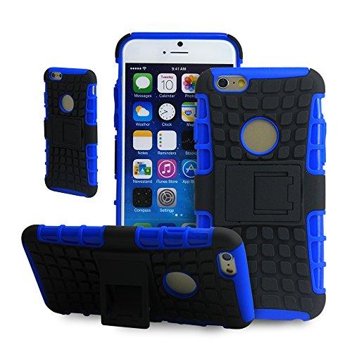 Thematys Coque de protection rigide en silicone avec béquille pour Apple iPhone 6 Bleu