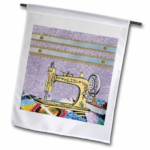 - 3dRose Vintage Flowered Yellow Sewing Machine with Colorful Quilt Garden Flag, 12 by 18