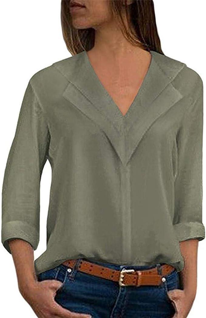 Femme Chemise Soie Chic Manche Longue T-Shirt Bureau Casual Col V /éL/éGant Bureau Chemisier Couleur Unie Blouse Femme Mode Tee Top Haut Blouse Et/é S-5XL