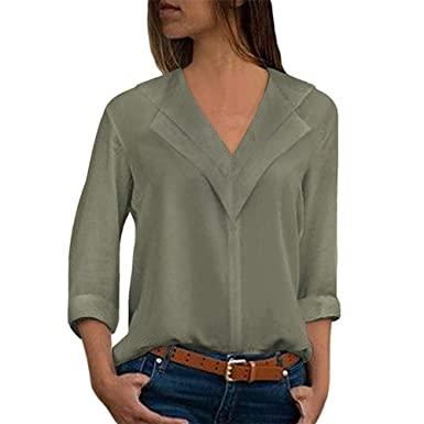 34513dcd867da DEATU Sale Womens Spring Autumn Tops Blouses Casual Sexy V Neck Long Sleeve  Solid T Shirts