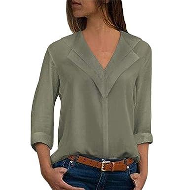Guesspower Chemisier Femme Manches Longues Tunique Button Up Shirt Rayé  Chemise Col V Top Blouse Mode e55c1c7ea45e