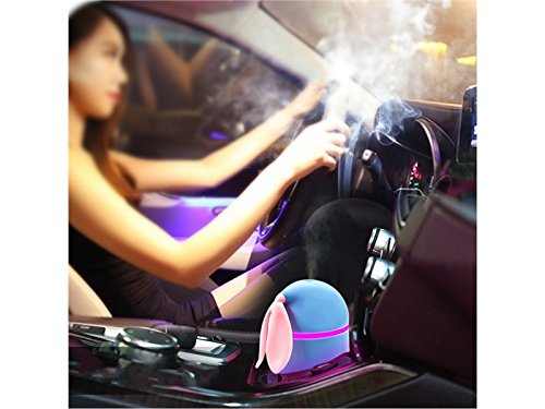 Yunqir Compatible Portable Rabbit Vehicle Humidifier LED Humidifier, Mini USB Air Humidifier Decor Oil Diffuser Office/Home/Spa(Pink) by Yunqir (Image #4)