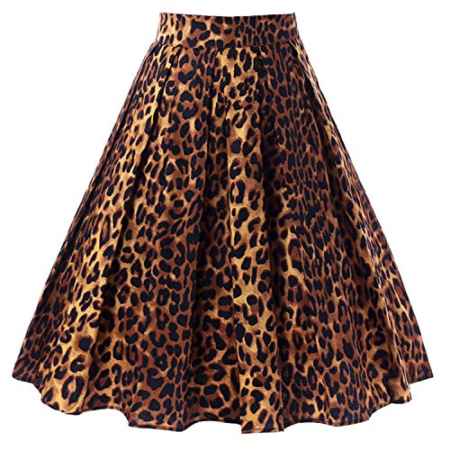 T-Crossworld Women's Vintage Flared High Waist A Line Pleated Midi Skirt with Pockets Leopard Print 2XLarge for $<!--$21.99-->