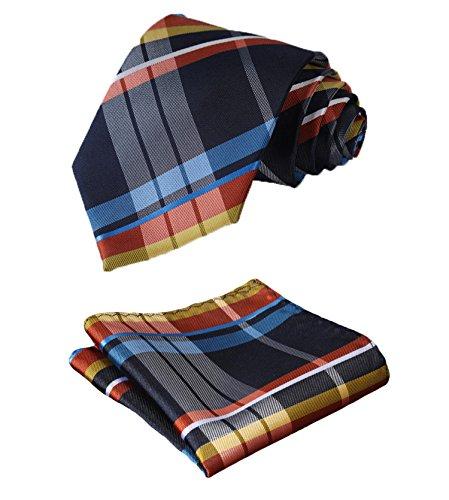 HISDERN Plaid Tie Handkerchief Woven Classic Men's Necktie & Pocket Square Set (Blue & Orange)