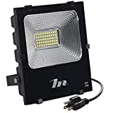 Cheap LED Flood Light 50W,HN Waterproof Outdoor Spot Lights 5000lm Daylight 6500k Floodlights with US-3 Plug for Yard,Garage,Garden,Lawn