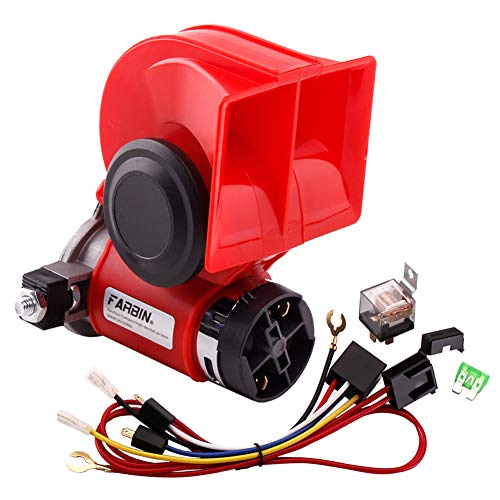 FARBIN 12V Horn Loud Air Horn Kit with Relay Wire Harness for Truck Car Motoroycle Golf Cart Boat CRV Jeeps (12V, red horn)