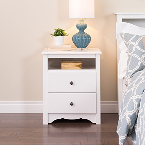Monterey Collection Tall 2 Drawer Nightstand, White + Expert Guide - Monterey Collection Cubbie