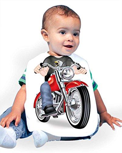 Just Add A Kid Baby Boy's Biker Fat Boy 972 Baby Bib 0-6 Months White -