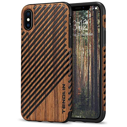- TENDLIN Compatible with iPhone Xs Case/iPhone X Case with Wood Grain Outside Soft TPU Silicone Hybrid Slim Case Compatible with iPhone X and iPhone Xs (Wood & Leather)