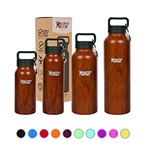 Healthy Human Insulated Water Bottle - Double Walled Sports Vacuum Thermos Wide Mouth Flask. Ideal for Women, Men & Kids - Harvest Maple - 21 oz