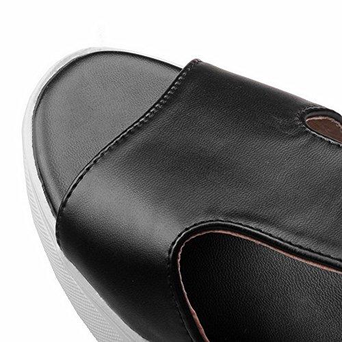 AllhqFashion Mujeres Sólido Velcro Puntera Abierta Plataforma y Cuña Negro