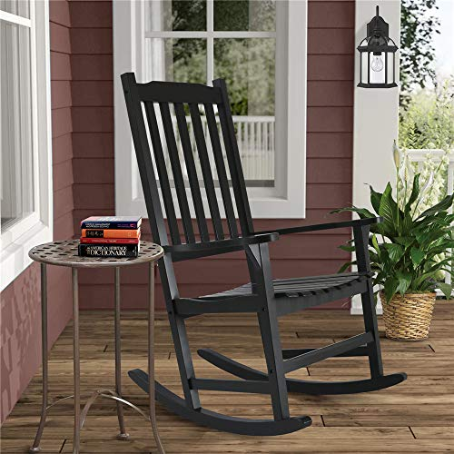 EZbuyeveryday Rocking Chair, Patio Rocking Chairs for Plantation,Porch, Living Room,Indoor or Outdoor (Black)