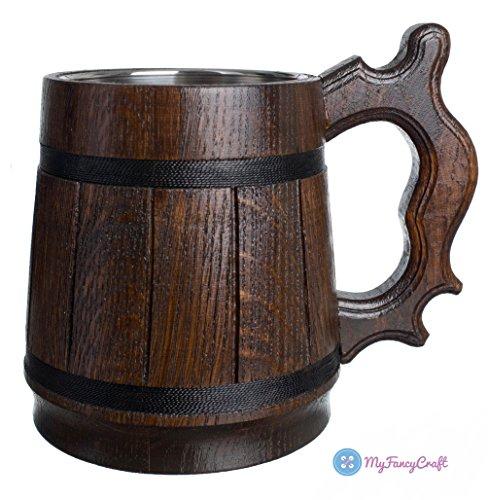 Handmade Wood Beer Mug 0.6L 20oz Natural Stainless Steel Cup