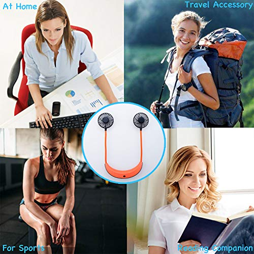 Portable Neck Fan, Hands-Free 5200mAH USB Rechargeable Wearable Hanging Neck Fan with 4 Adjustable Speeds, 360 Degree Free Rotation Perfect for Home Office Travel Indoor Outdoor, Orange