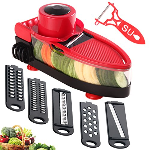 TENTA Kitchen Red Boat Slicer Mandoline Vegetable Slicer Grater Cutter Chopper, 6 in 1 Interchangeable Blades with Peeler with Food Catch Tray, Hand Protector,Food Storage Container ()