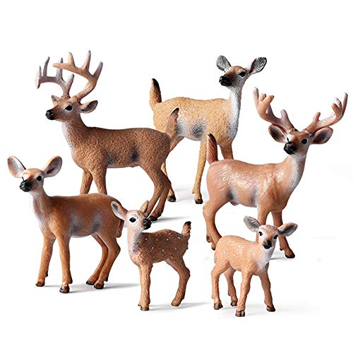 EOIVSH 6 Pack Forest Animal Deer Figures Toy, Woodland Animal Figurine Cake Topper Party Supplies Home Christmas Buck Doe Fawn Decor for Baby Shower Birthday Wedding from EOIVSH