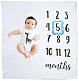#9: GIFTiz Baby Monthly Milestone Blanket Photo Prop Set, 100% Organic Hypoallergenic Muslin Cotton, X-large - Blue Frame